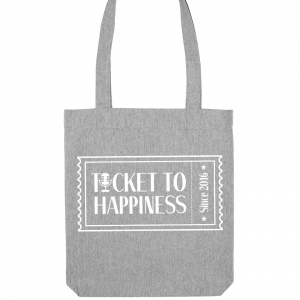 Ticket to Happiness - Tote Bag - Jutetasche - Jutebeutel - Grey- Grau - Merch - Shop - Happiness Bag - Tragetasche - Tasche