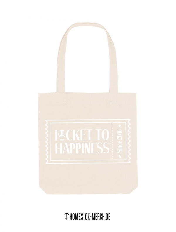 Ticket to Happiness - Tote Bag - Jutetasche - Jutebeutel - Natural - Beige - Bundle - Merch - Shop - Happiness Bag