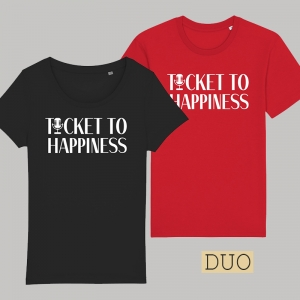 Ticket to Happiness – 2 Shirts - T-Shirt - Black - Red - Duo - Merch - Shop - Happiness Shirt