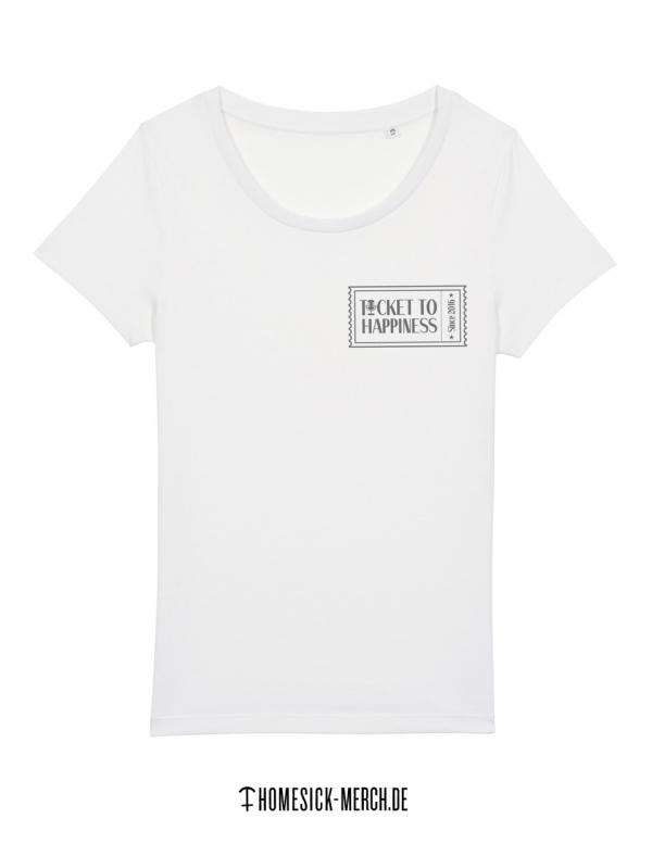 Ticket to Happiness - T-Shirt - White - Women - Merch - Shop - Happiness Shirt
